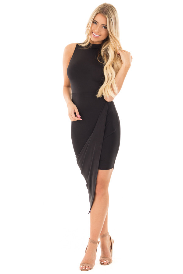 Black Silky Sleeveless Wrap Dress with Asymmetrical Hemline front full body