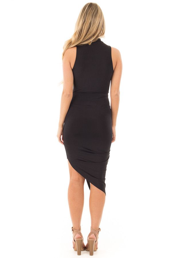 Black Silky Sleeveless Wrap Dress with Asymmetrical Hemline back full body