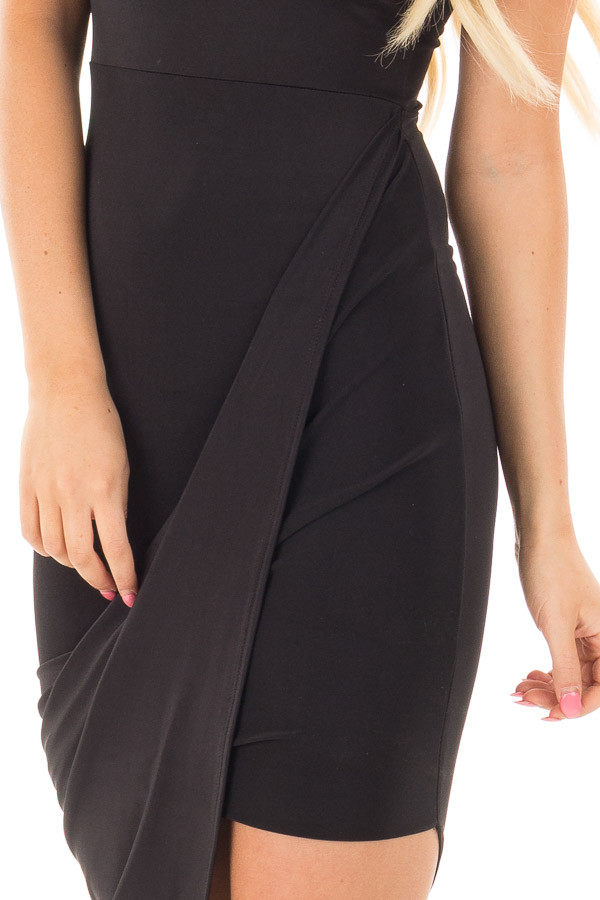 Black Silky Sleeveless Wrap Dress with Asymmetrical Hemline detail