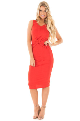 Rust Bodycon Midi Dress with Crossover Detail Front front full body