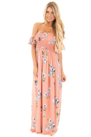 Peach Floral Print Off Shoulder Maxi Dress front full body