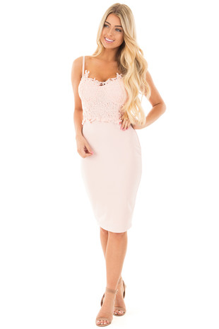 Blush Bustier Bodycon Dress with Crochet Detail front full body