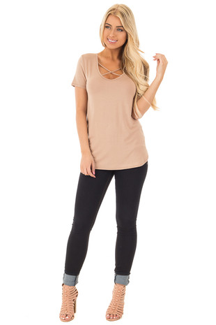 Taupe Short Sleeve Top with Criss Cross Detail front full body