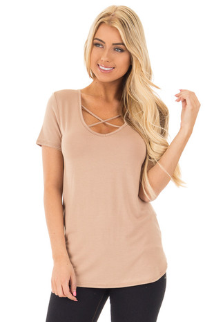 Taupe Short Sleeve Top with Criss Cross Detail front close up