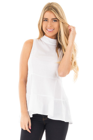 White Peplum Mock Neck Tank front close up