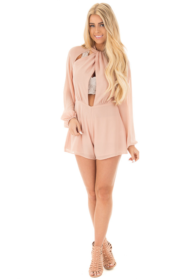 Peach Mock Neck Chiffon Romper Keyhole Cutout Front front full body