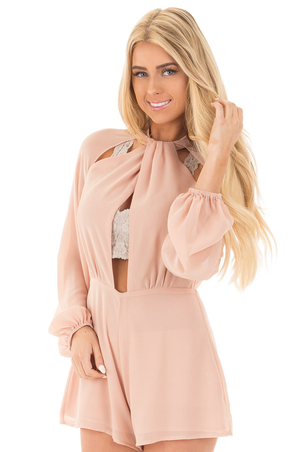 Peach Mock Neck Chiffon Romper Keyhole Cutout Front front close up