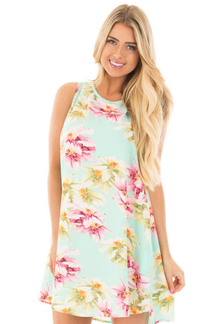 Mint Multi Floral Sleeveless Dress with Keyhole Tie Back front close up