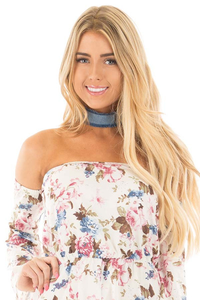 Denim Frayed Choker with Gold Detail