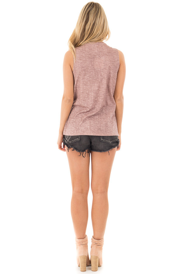 Lavender Washed Tank with Lace Up V Neck and Side Slits back full body