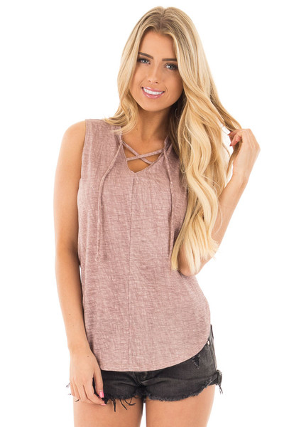 Lavender Washed Tank with Lace Up V Neck and Side Slits front close up