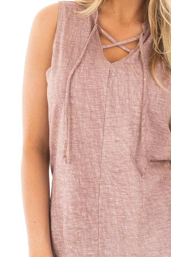 Lavender Washed Tank with Lace Up V Neck and Side Slits detail