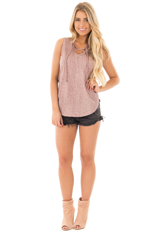 Lavender Washed Tank with Lace Up V Neck and Side Slits front full body