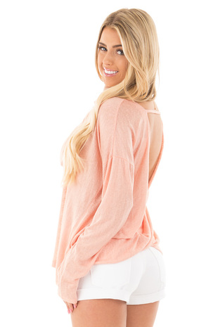 Peach Knit Long Sleeve Top with Open Back Detail back side close up