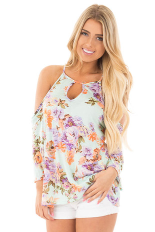 Mint Multi Floral Cold Shoulder Top with Keyhole Front front close up