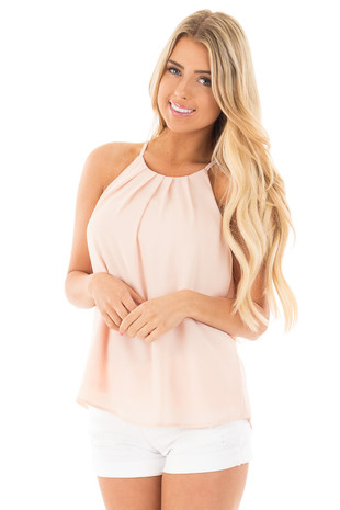 Light Pink Chiffon Spaghetti Strap Tank front close up