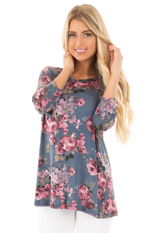 Denim Blue Floral 3/4 Sleeve Flowy Tee front close up