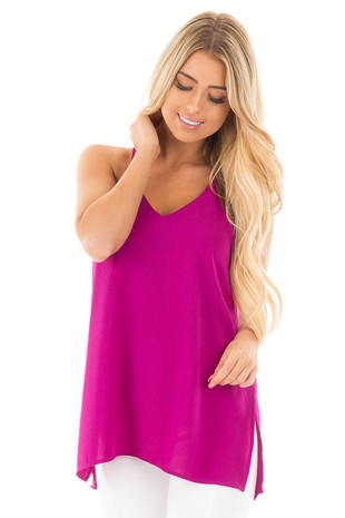 Plum Chiffon V Neck Tank with Side Slits front close up