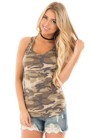 Olive Camouflage Racerback Tank Top front close up