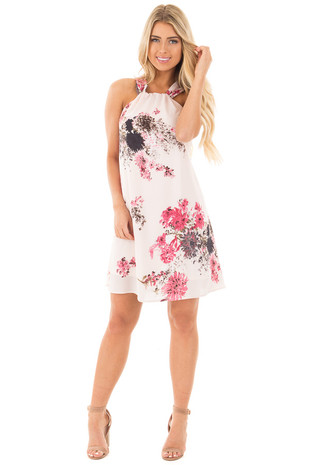 Pink Lemonade Floral Shift Dress with Halter Detail front full body