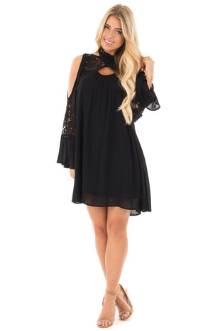 Black Dress with Lace Details and Open Shoulder Long Sleeves front full body