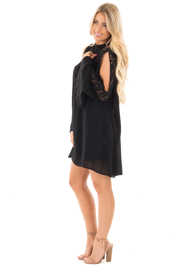 Black Dress with Lace Details and Open Shoulder Long Sleeves side full body