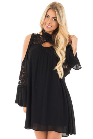 Black Dress with Lace Details and Open Shoulder Long Sleeves front close up