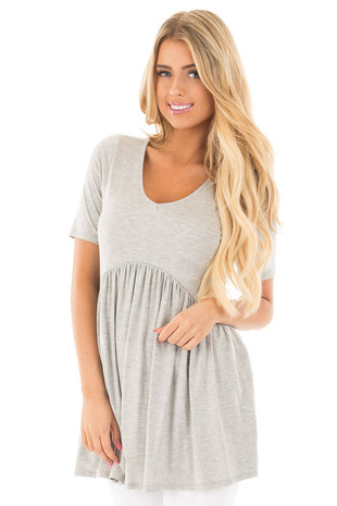 Heather Grey V-Neck Gathered Babydoll Waistline Top front close up