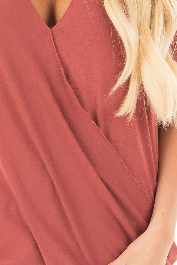 Brick Crossover Drape Style Tee with Cuffed Sleeves detail