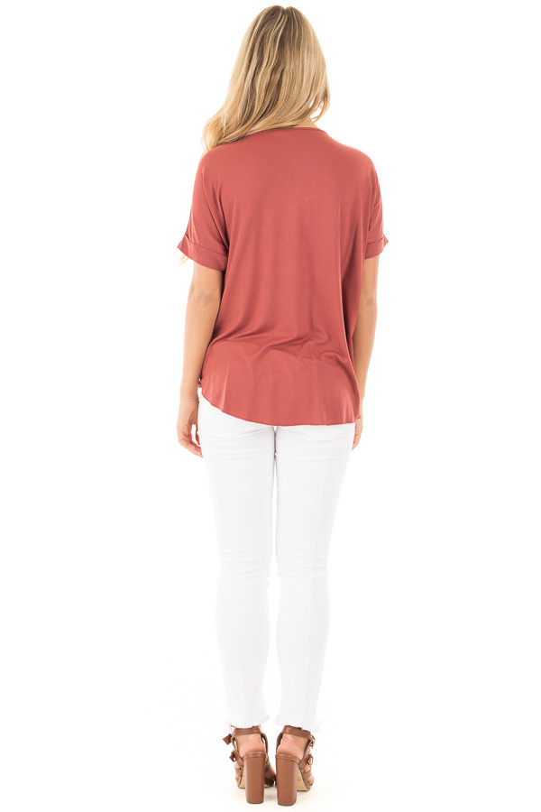 Brick Crossover Drape Style Tee with Cuffed Sleeves back full body
