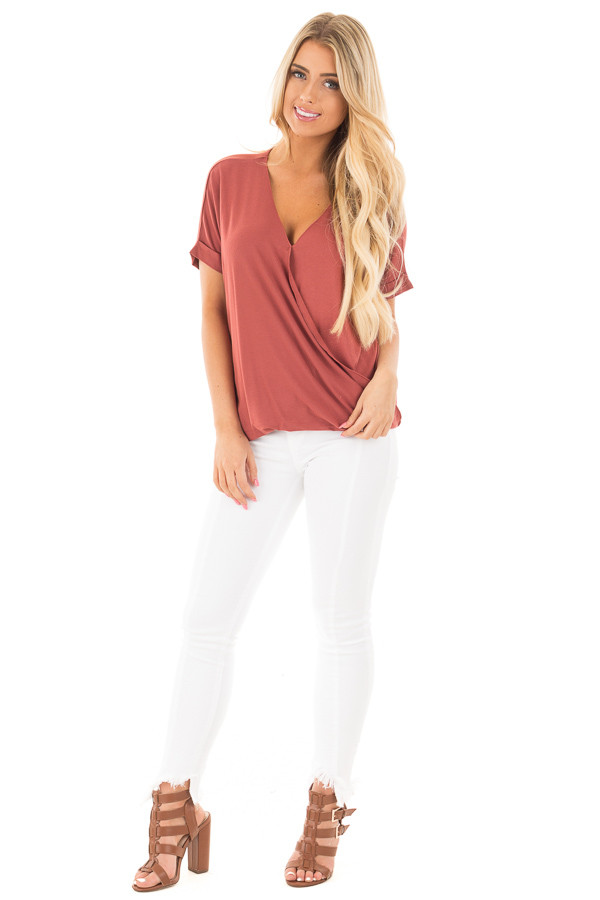 Brick Crossover Drape Style Tee with Cuffed Sleeves front full body