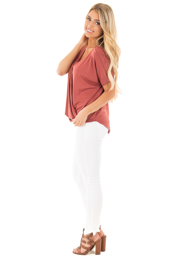 Brick Crossover Drape Style Tee with Cuffed Sleeves side full body