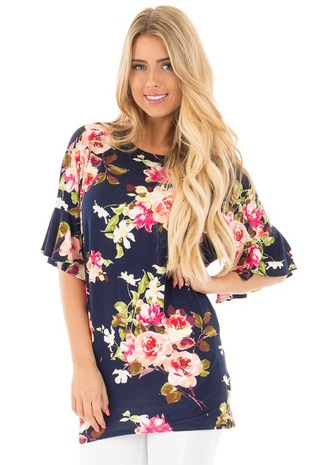 Navy Multi Floral Butterly Sleeve Tunic Top front close up