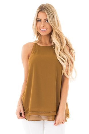 Deep Olive Layered Sleeveless Top with Crochet Hem Detail front full body