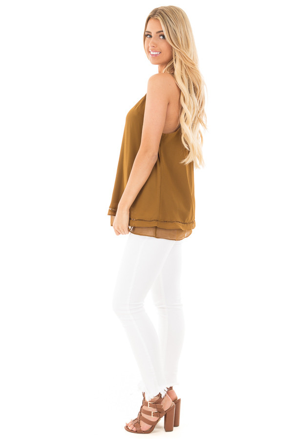 Deep Olive Layered Sleeveless Top with Crochet Hem Detail side full body