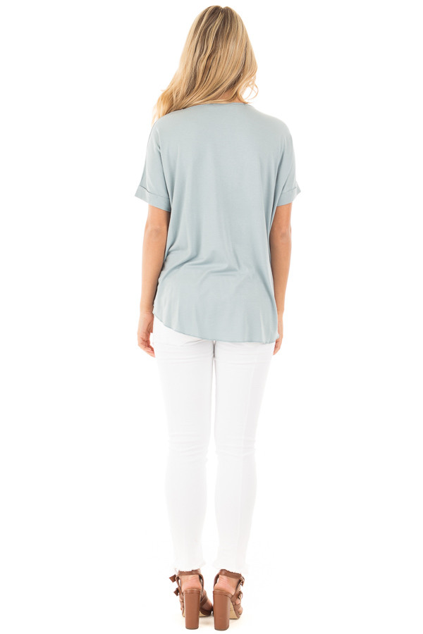 Blue Sage Crossover Drape Style Tee with Cuffed Sleeves back full body