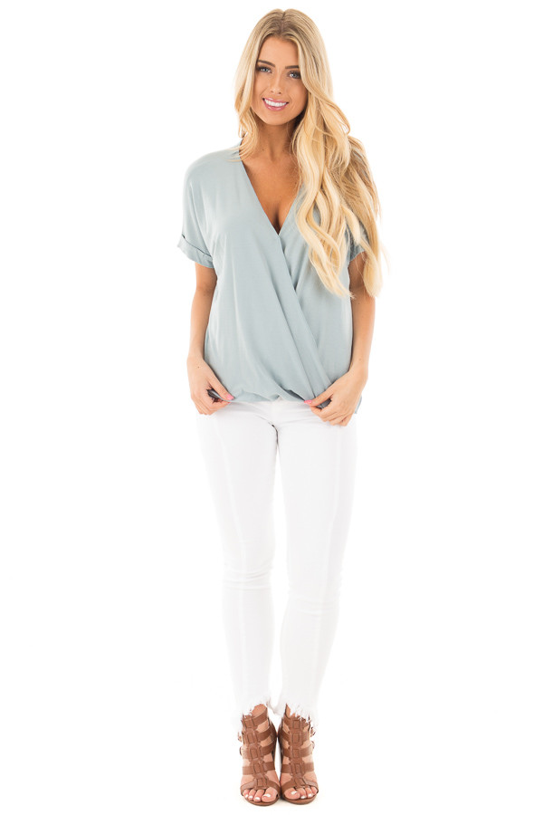 Blue Sage Crossover Drape Style Tee with Cuffed Sleeves front full body