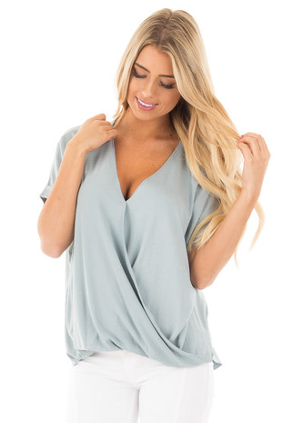 Blue Sage Crossover Drape Style Tee with Cuffed Sleeves front close up