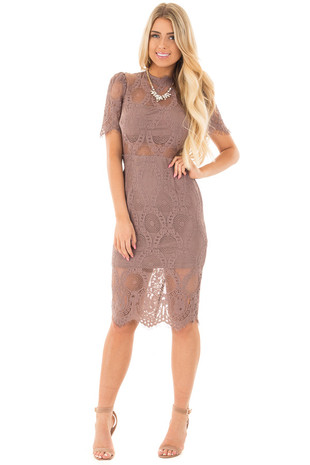 Dark Mauve Mock Neck Lace Dress front full body