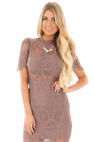 Dark Mauve Mock Neck Lace Dress front close up