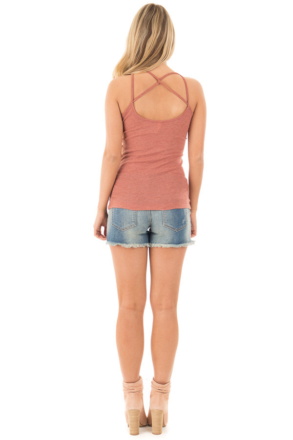 Brick Ribbed Tank with Criss Cross Front and Back Neckline back full body