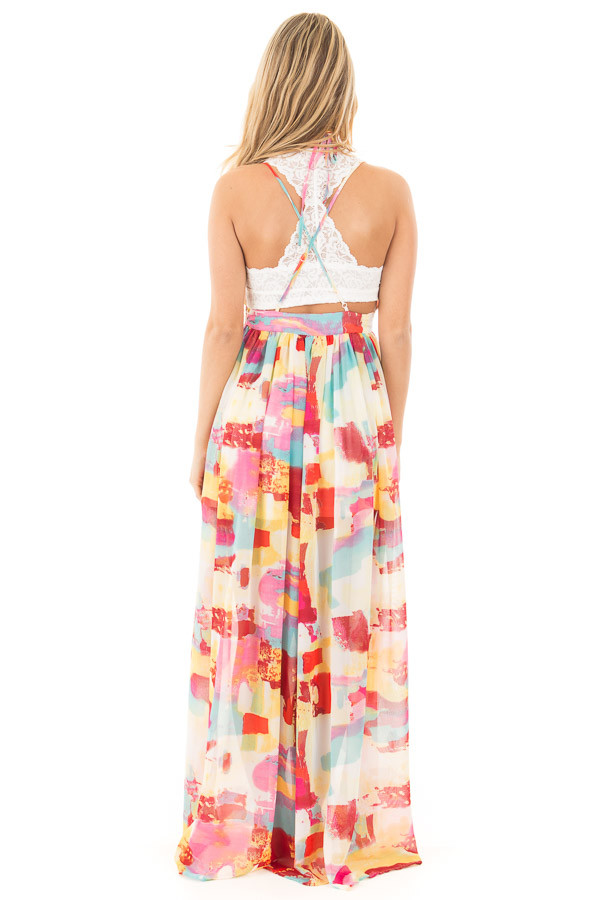 Colorful Deep V Neck Sheer Maxi Dress with Mini Skirt Lining back full body