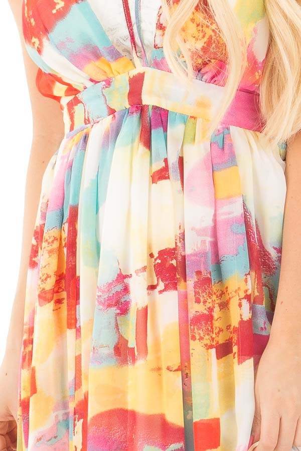 Colorful Deep V Neck Sheer Maxi Dress with Mini Skirt Lining detail