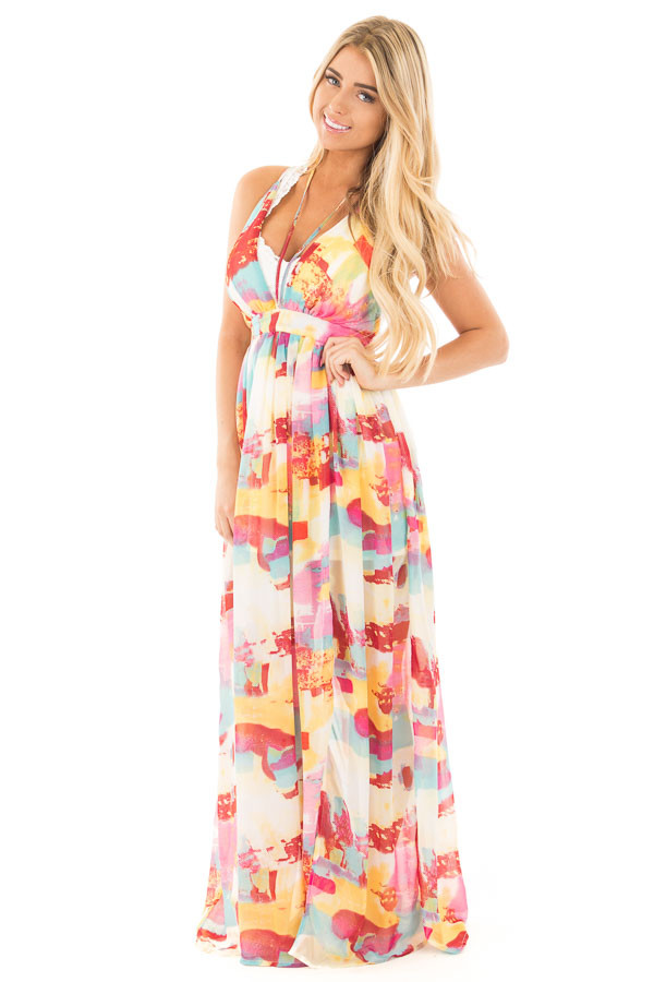 Colorful Deep V Neck Sheer Maxi Dress with Mini Skirt Lining front full body