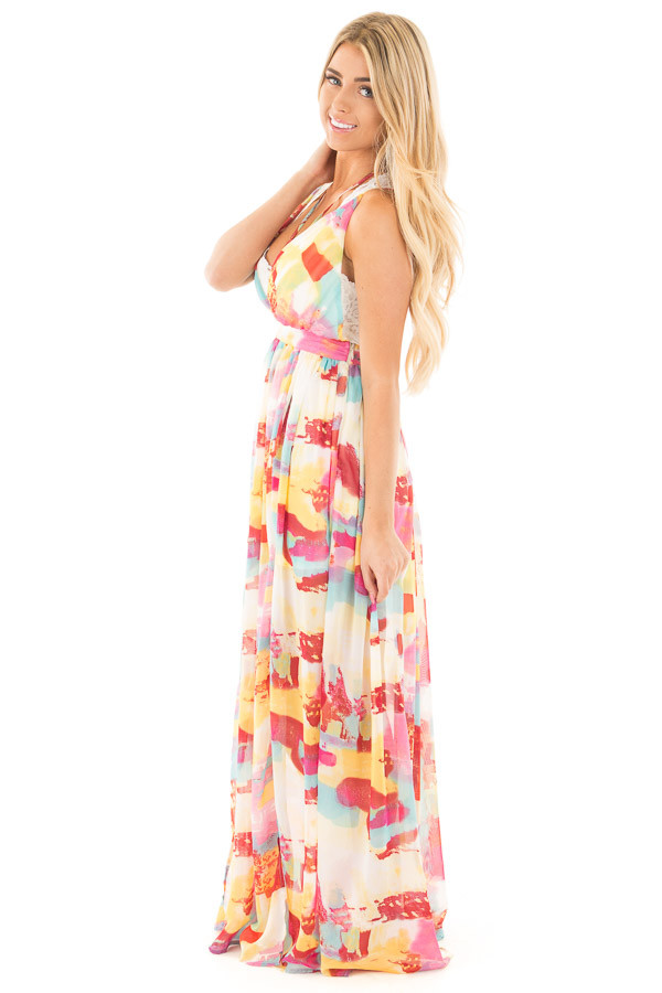Colorful Deep V Neck Sheer Maxi Dress with Mini Skirt Lining side full body