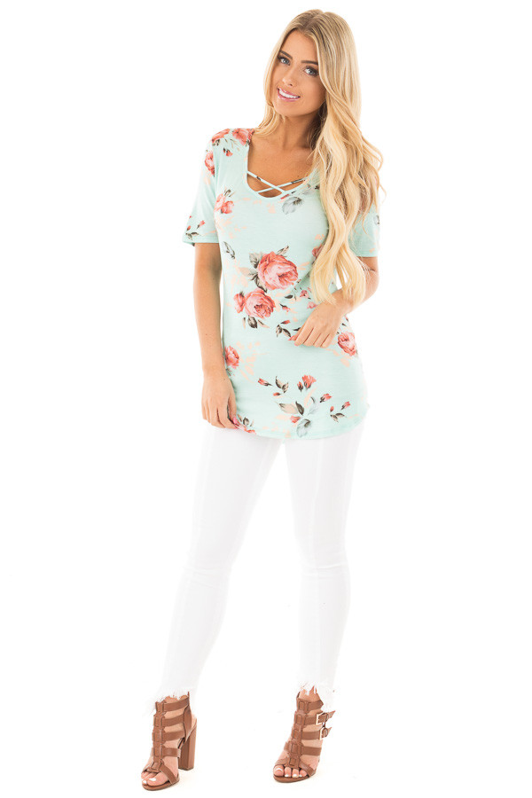 Blue Mint Floral Short Sleeve Tee with Criss Cross Neckline front full body