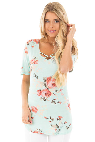 Blue Mint Floral Short Sleeve Tee with Criss Cross Neckline front close up