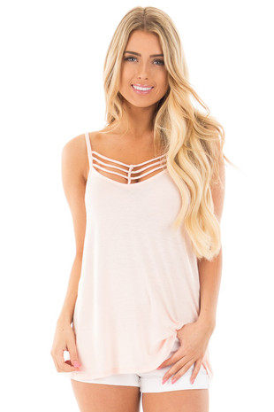 Blush Spaghetti Strap Tank Top with Caged Neckline front close up