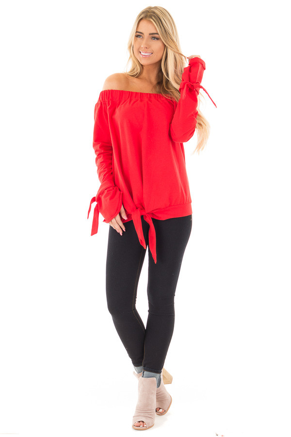 Cherry Red Off the Shoulder Top with Tie Details front full body