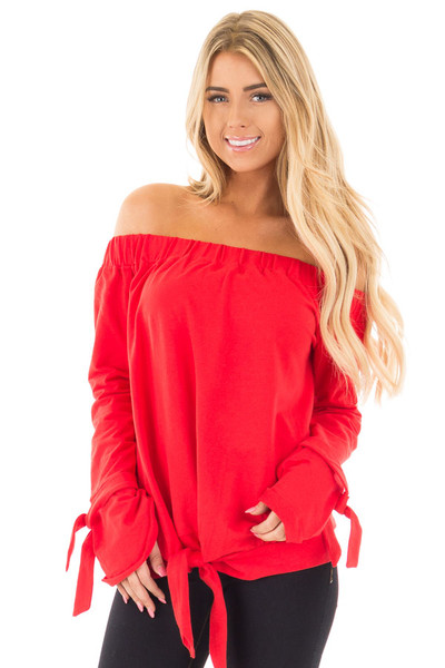 Cherry Red Off the Shoulder Top with Tie Details front close up